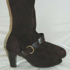 PREDICTIONS Brown Faux Suede Animal Print Boot